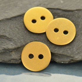Flat Two Hole Button - 24K Gold Plated Bronze DISCONTINUED