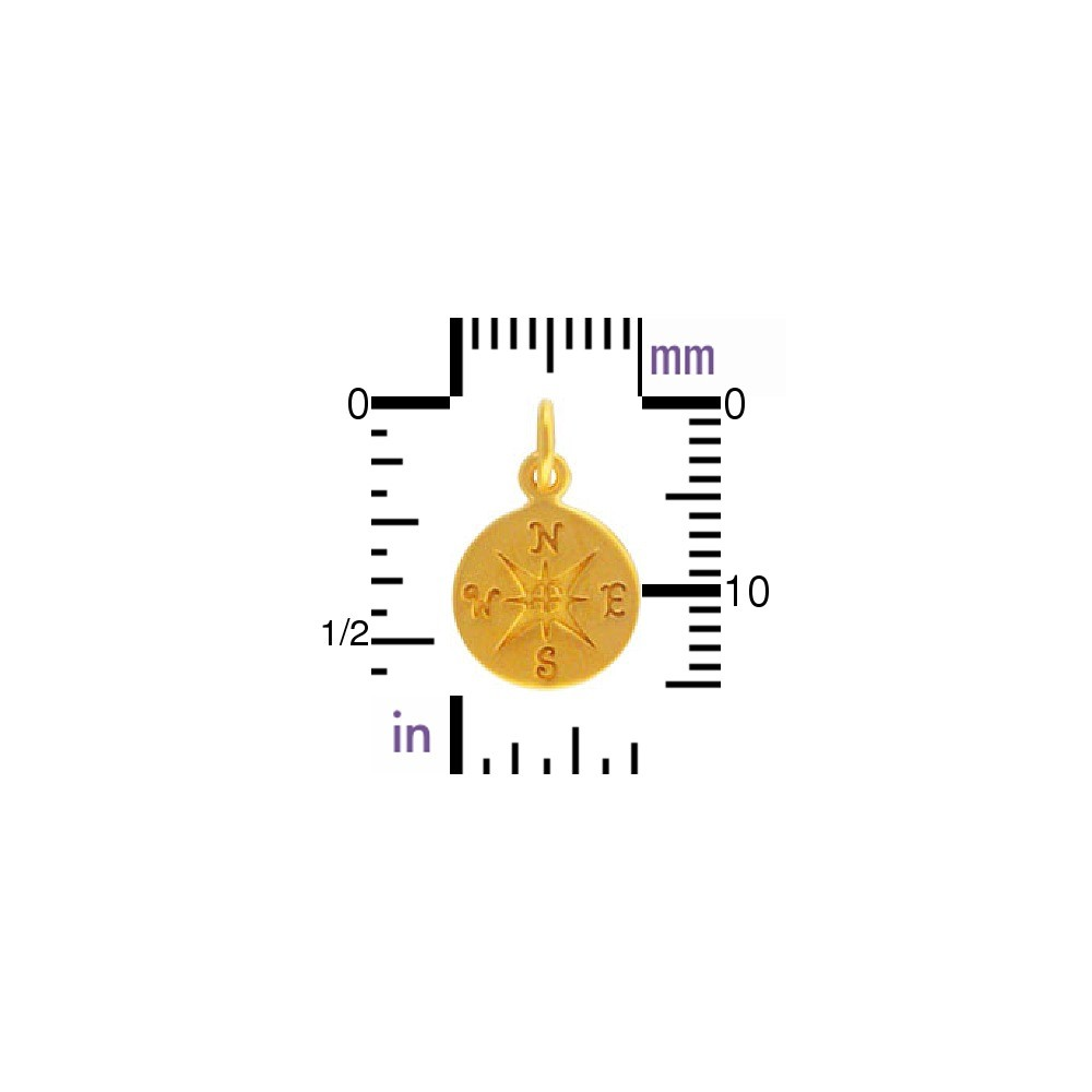 24K Gold Plated Bronze Compass Charm -16mm