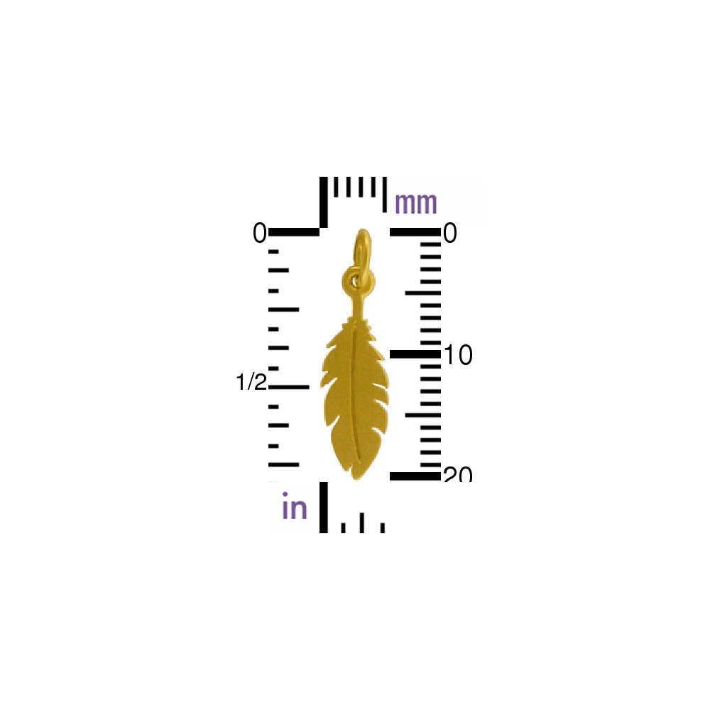 Flat Feather Charm - 24K Gold Plated Bronze DISCONTINUED