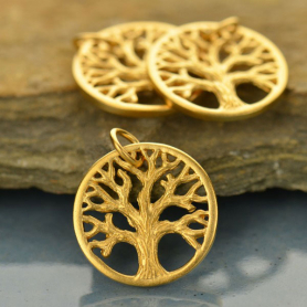 Sm Textured Tree of Life Charm - 24K Gold Plated Bronze