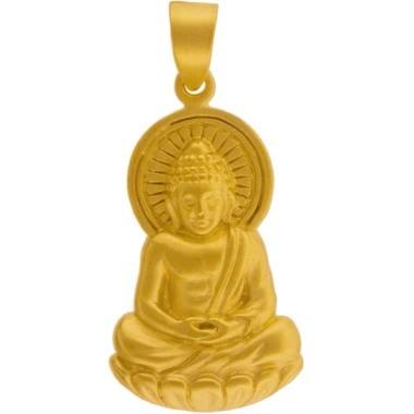 Buddha Pendant - 24K Gold Plated Bronze 33x15mm
