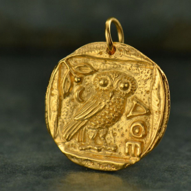 Ancient Athena's Owl Coin Charm -Gold Plated Bronze 24x19mm