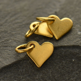 Small Heart Charm - 24K Gold Plated Bronze 10x7mm