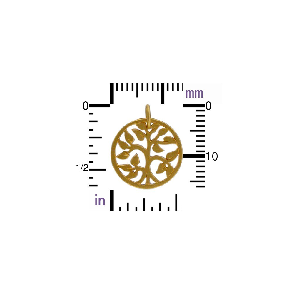 Small Tree of Life Charm - 24K Gold Plated Bronze 17x13mm