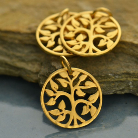 Small Tree of Life Charm - 24K Gold Plated Bronze