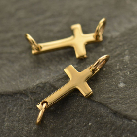 Cross Charm Link - Bronze 6x17mm