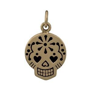 Small Sugar Skull Jewelry Charm - Bronze