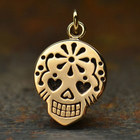 Small Sugar Skull Jewelry Charm - Bronze