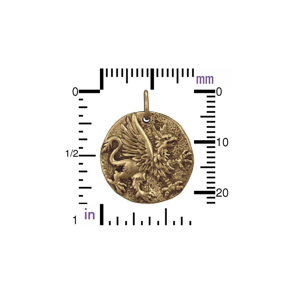 Ancient Coin Jewelry Charm - Griffin - Bronze 22x18mm