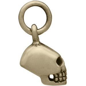 Mini Skull Jewelry Charm - Bronze 13x5mm