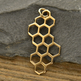 Honeycomb Jewelry Charm - Bronze