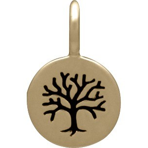 Bronze Tree of Life Etched on a Round Charm 13x8mm