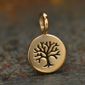 Bronze Tree of Life Etched on a Round Charm -8mm