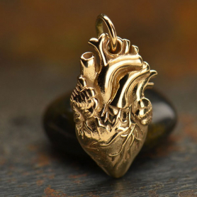 Anatomical Heart Jewelry Charm - Bronze