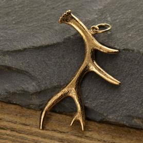 Deer Antler Jewelry Pendant -  Bronze 40x28mm