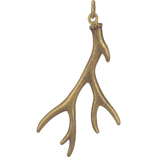 Large Deer Antler Jewelry Pendant - Bronze 43x21mm