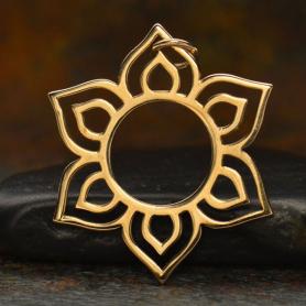 Openwork Sunburst Lotus Jewelry Charm - Bronze 30x27mm