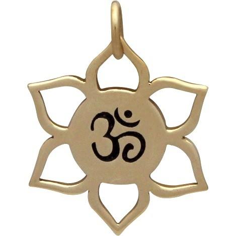Lotus Jewelry Charm with Om Center - Bronze 21x18mm
