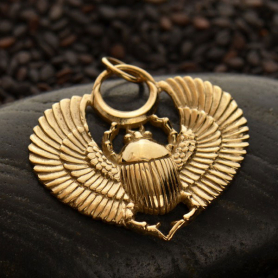Egyptian Scarab Jewelry Pendant - Bronze 29x27mm