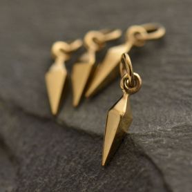 Small Spike Jewelry Charm - Bronze 15x3mm