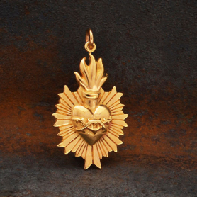 Bronze Flaming Sacred Heart Pendant with Thorns