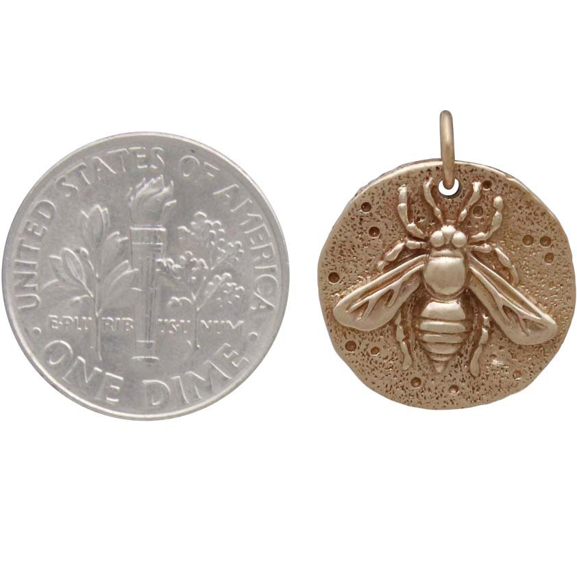 Bronze Ancient Bee Coin Charm 19x16