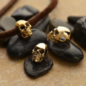 Small Skull Bead - Bronze 10x6mm