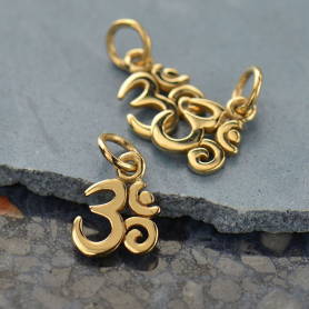 Tiny Om Jewelry Charm - Bronze 13x7mm