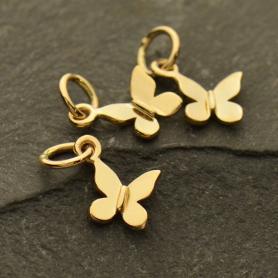 Tiny Butterfly Jewelry Charm - Bronze 12x10mm
