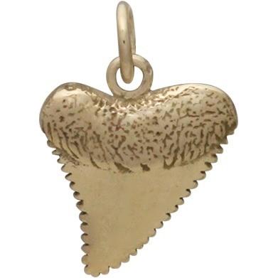Bronze Shark Tooth Jewelry Charm -18mm
