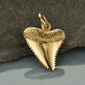 Bronze Shark Tooth Jewelry Charm -18mm