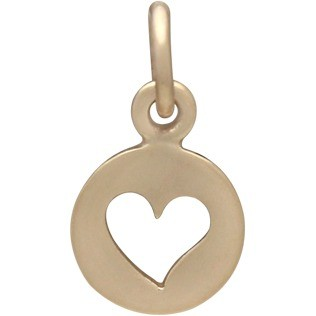 Tiny Round Jewelry Charm with Heart Cutout - Bronze 14x8mm