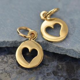 Tiny Round Jewelry Charm with Heart Cutout - Bronze 14x8mm