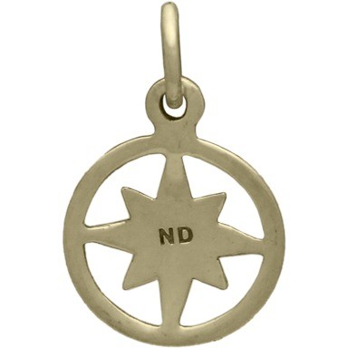 Compass Jewelry Charm in Circle Frame - Bronze