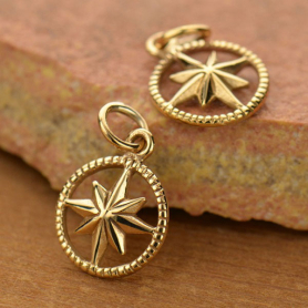 Compass Jewelry Charm in Circle Frame - Bronze 17x11mm