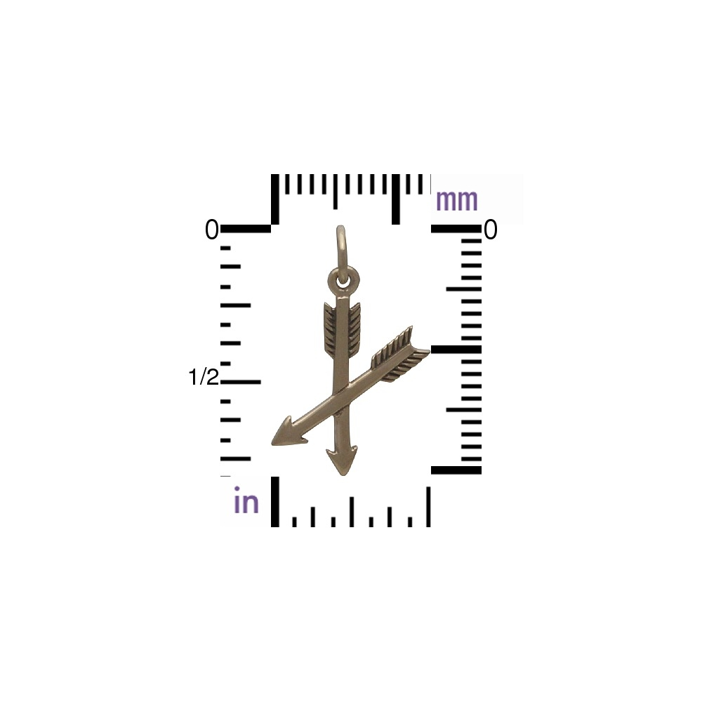 Crossed Arrow Jewelry Charm - Bronze 23x12mm
