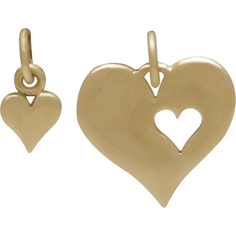 Heart Jewelry Charm with Heart Cutout Set - Bronze 16x13mm