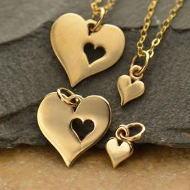 Heart Jewelry Charm with Heart Cutout Set - Bronze
