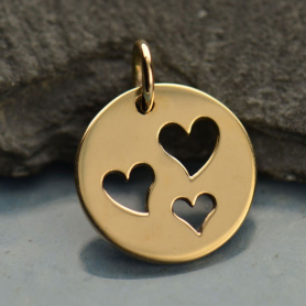 Round Jewelry Charm w 3 Heart Cutouts - Bronze DISCONTINUED