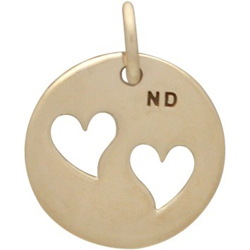 Round Jewelry Charm with 2 Heart Cutouts - Bronze 16x12mm