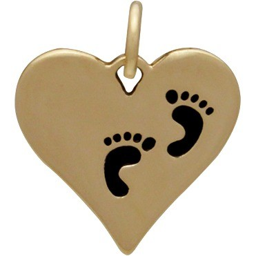 Heart Jewelry Charm with Etched Footprints - Bronze 16x14mm