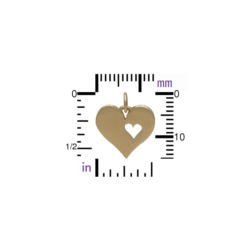 Heart Jewelry Charm with One Heart Cutout - Bronze 17x13mm