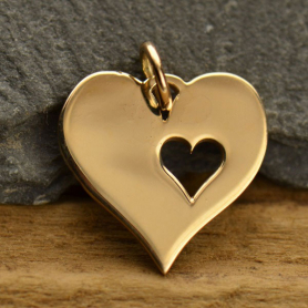 Heart Jewelry Charm with One Heart Cutout - Bronze