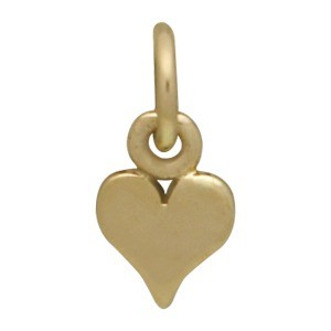 Tiny Heart Jewelry Charm - Bronze 11x5mm