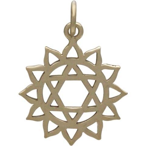Heart Chakra Jewelry Charm - Bronze 22x15mm