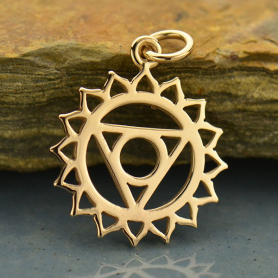 Throat Chakra Jewelry Charm - Bronze 22x16mm
