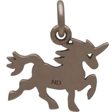 Bronze Flat Unicorn Charm 15x14mm