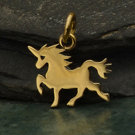 Bronze Flat Unicorn Charm