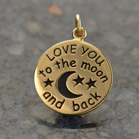 Love You to the Moon and Back Word Charm - Bronze 21x15mm