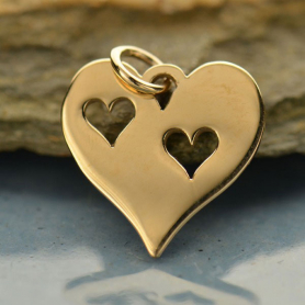 Heart Jewelry Charm with 2 Heart Cutouts - Bronze 17x15mm